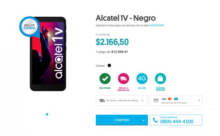 Alcatel 1V en Personal Argentina Precio Promocional