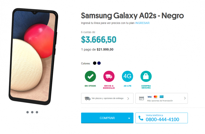 Samsung Galaxy A02s en Personal Argenitna